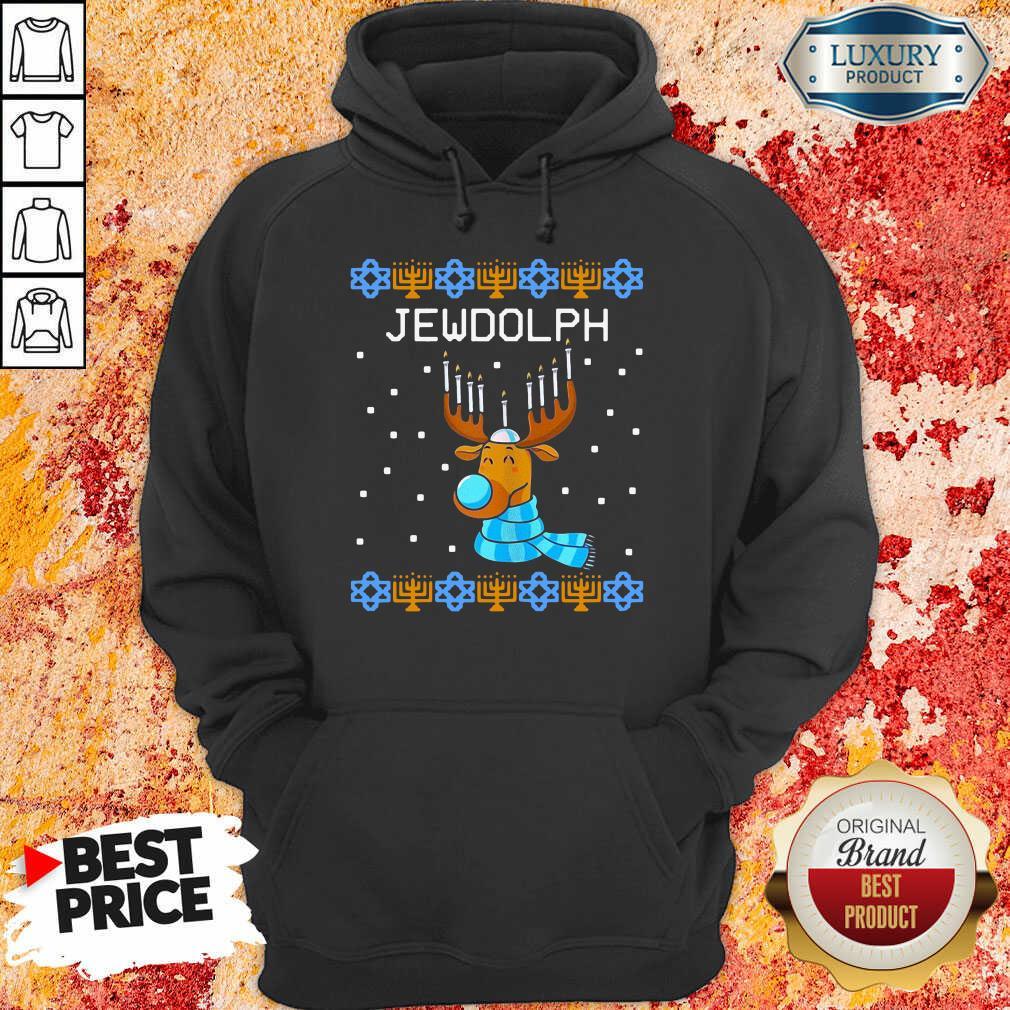 Jewdolph Ugly Hanukkah Reindeer Menorah Chanukah Ugly Christmas Hoodie-Design By Soyatees.com