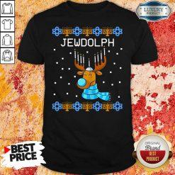 Jewdolph Ugly Hanukkah Reindeer Menorah Chanukah Ugly Christmas Shirt-Design By Soyatees.com