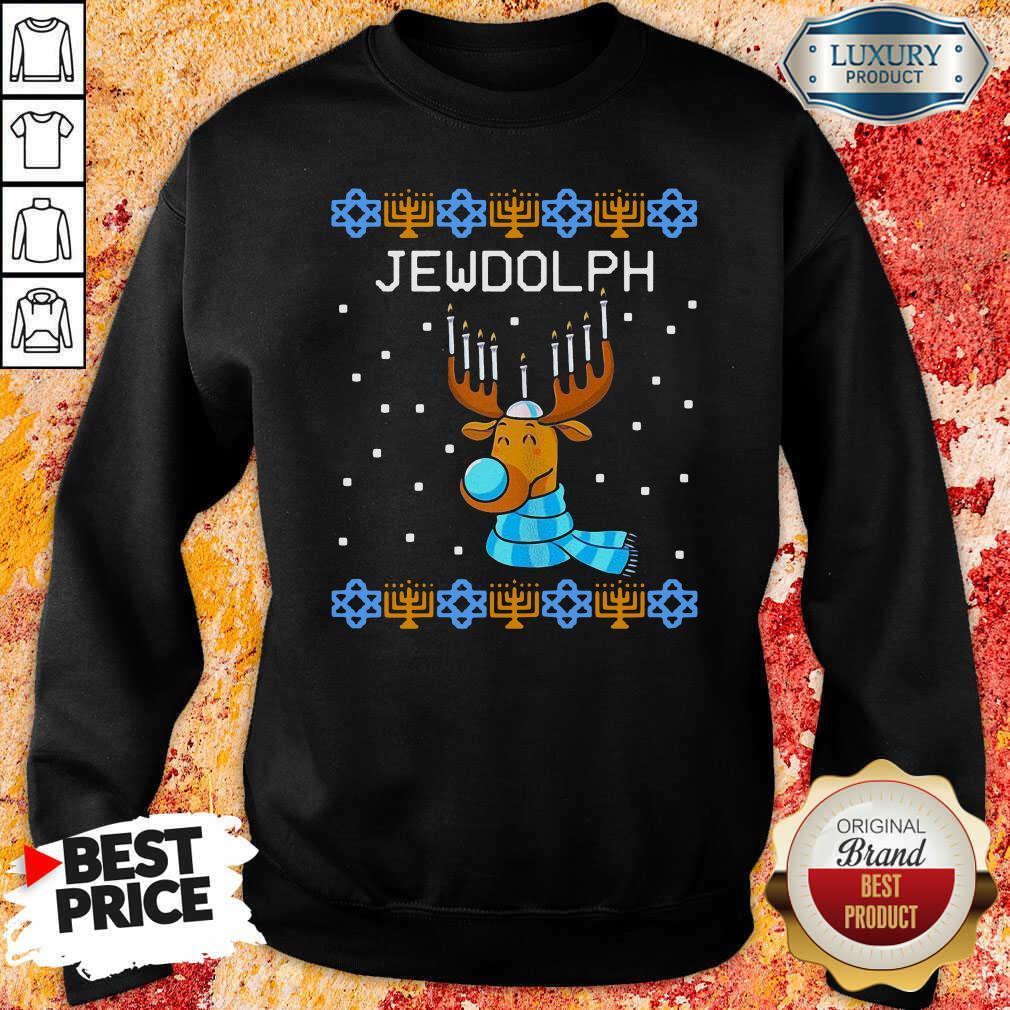 Jewdolph Ugly Hanukkah Reindeer Menorah Chanukah Ugly Christmas Sweatshirt-Design By Soyatees.com
