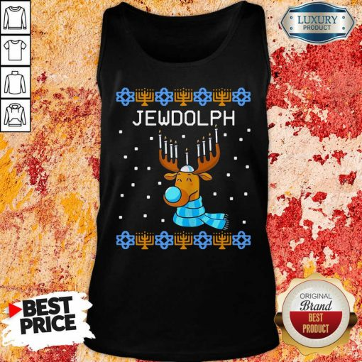 Jewdolph Ugly Hanukkah Reindeer Menorah Chanukah Ugly Christmas Tank Top-Design By Soyatees.com