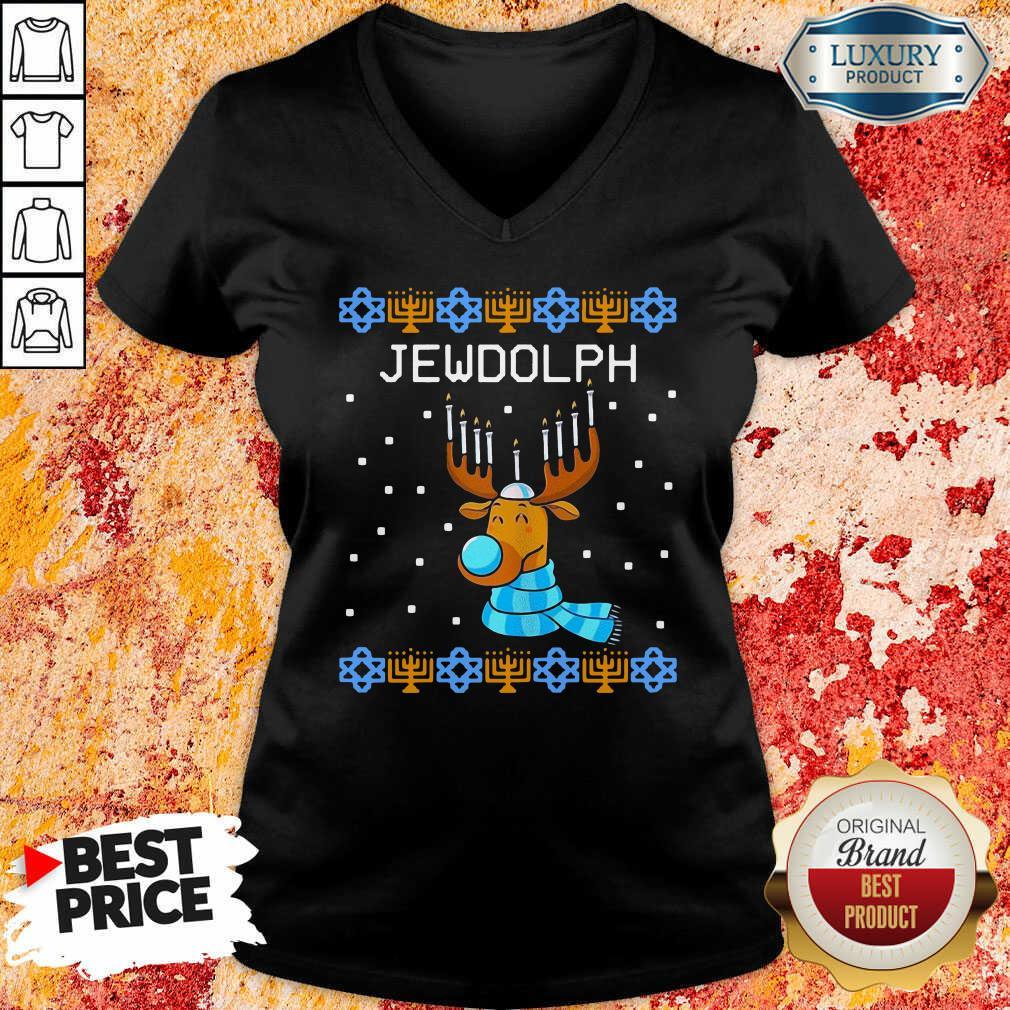 Jewdolph Ugly Hanukkah Reindeer Menorah Chanukah Ugly Christmas V-neck-Design By Soyatees.com