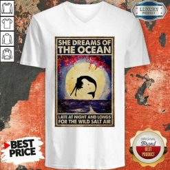 Good Mermaid She Dreams Of The Ocean Late At Night And Longs For The Wild Salt Air V-neck-Design By Soyatees.com