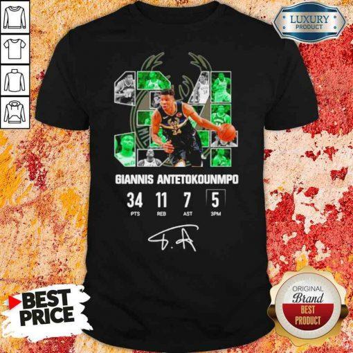 Good Milwaukee Bucks Giannis Antetokounmpo 34 Signature Shirt-Design By Soyatees.com
