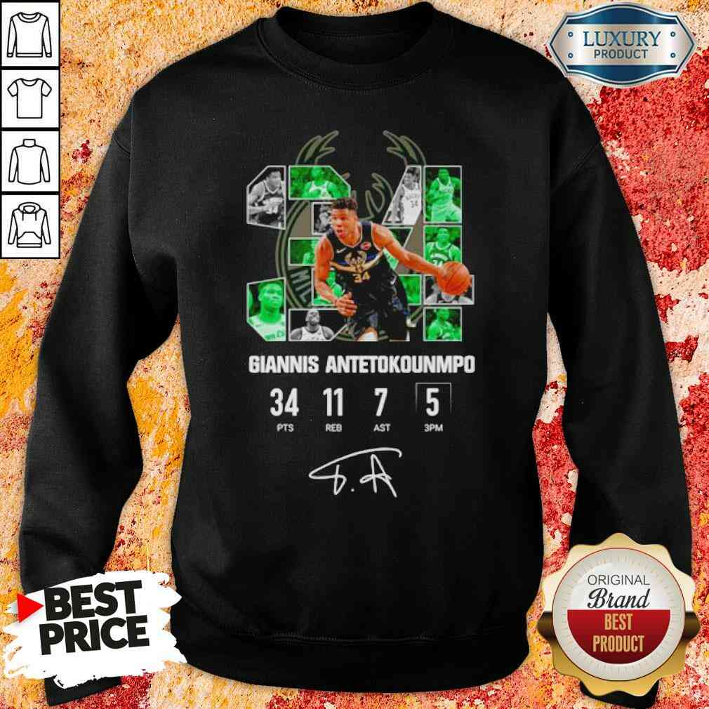 Good Milwaukee Bucks Giannis Antetokounmpo 34 Signature Sweatshirt-Design By Soyatees.com