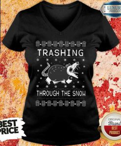 Good Opossum Trashing Through The Snow Ugly Christmas V-neck-Design By Soyatees.com