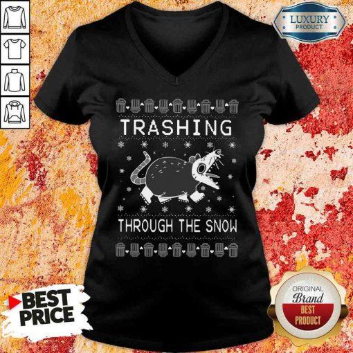 Good Opossum Trashing Through The Snow Ugly Christmas V-neck-Design By Soyatees.com
