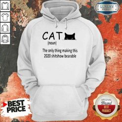 Happy Black Cat The Only Thing Making This 2020 Shitshow Bearable Hoodie-Design By Soyatees.com