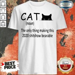 Happy Black Cat The Only Thing Making This 2020 Shitshow Bearable Shirt-Design By Soyatees.com