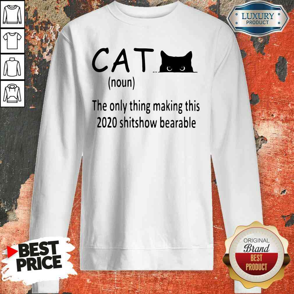 Happy Black Cat The Only Thing Making This 2020 Shitshow Bearable Sweatshirt-Design By Soyatees.com