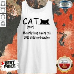 Happy Black Cat The Only Thing Making This 2020 Shitshow Bearable Tank Top-Design By Soyatees.com