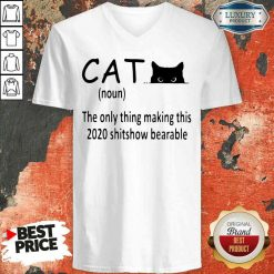 Happy Black Cat The Only Thing Making This 2020 Shitshow Bearable V-neck-Design By Soyatees.com