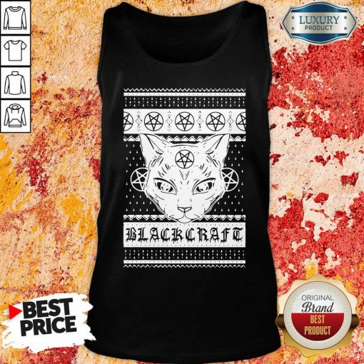 Happy Cat Black Craft Ugly Christmas Tank Top-Design By Soyatees.com