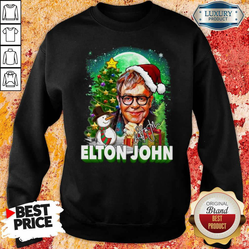 Elton John Santa Snowman Merry Christmas Signature Sweatshirt-Design By Soyatees.com