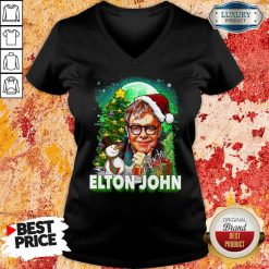 Elton John Santa Snowman Merry Christmas Signature V-neck-Design By Soyatees.com