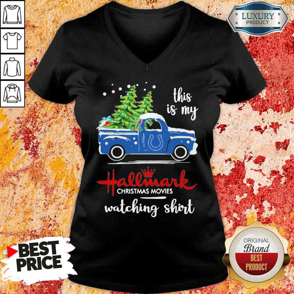 Happy Indianapolis Colts This Is My Hallmark Christmas Movies Watching V-neck-Design By Soyatees.com