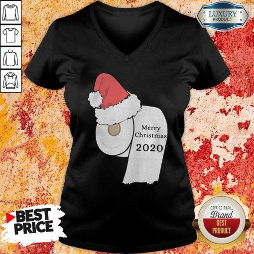Santa Hat Toilet Paper Merry Christmas 2020 V-neck-Design By Soyatees.com