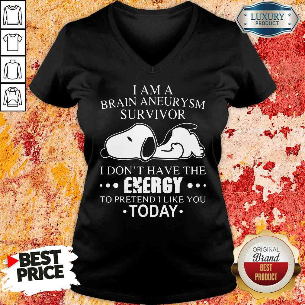Happy Snoopy I Am A Brain Aneurysm Survivor Tee V-neck-Design By Soyatees.com