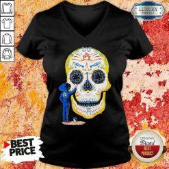 Hot Painter Sugar Skull And Music V-neck-Design By Soyatees.com