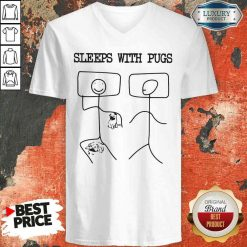 Hot Sleeps With Pugs V-neck-Design By Soyatees.com