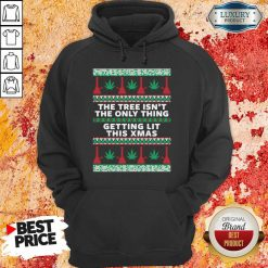 """""""Hot The Tree Isn'T The Only Thing Getting Lit Ugly Stoner Christmas Hoodie-Design By Soyatees.com"""