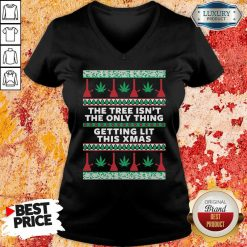 The Tree Isn'T The Only Thing Getting Lit Ugly Stoner Christmas V-neck-Design By Soyatees.com