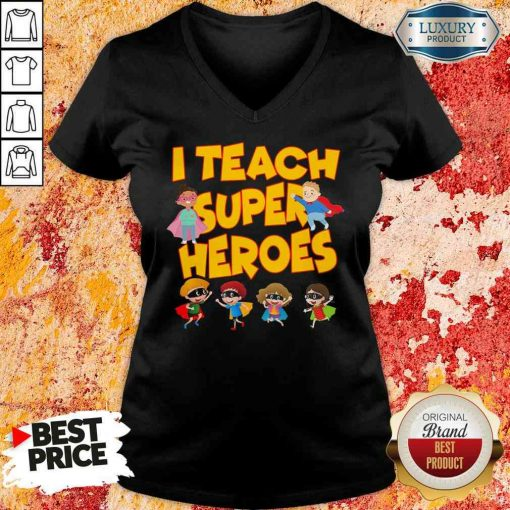 I teach Superheroes Chibi teacher Day V-neck-Design By Soyatees.com
