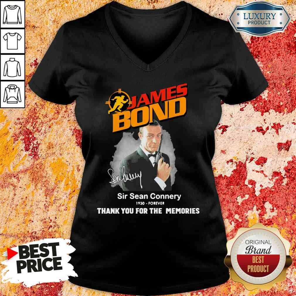James Bond Sir Sean Connery 1930 forever thank you for the memories signature V-neck-Design By Soyatees.com