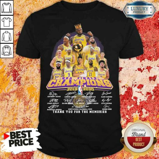 King Los Angeles Lakers NBA finals Champions 2019-2020 thank you for the memories signatures shirt-Design By Soyatees.com