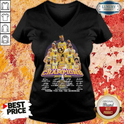 King Los Angeles Lakers NBA finals Champions 2019-2020 thank you for the memories signatures V-neck-Design By Soyatees.com
