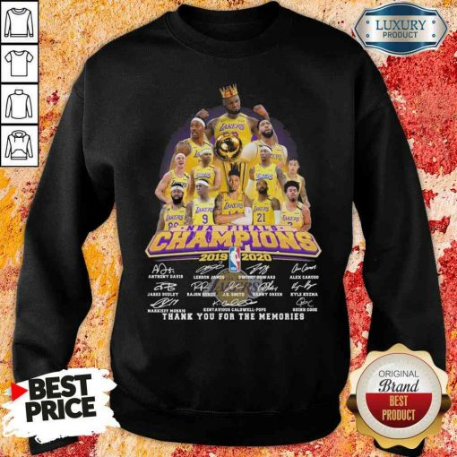 King Los Angeles Lakers NBA finals Champions 2019-2020 thank you for the memories signatures Sweatshirt-Design By Soyatees.com