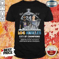 Kobe Bryant LeBron James Los Angeles Vs Corey Seager LA Dodgers City Of Champions 2020 Signature Shirt-Design By Soyatees.com