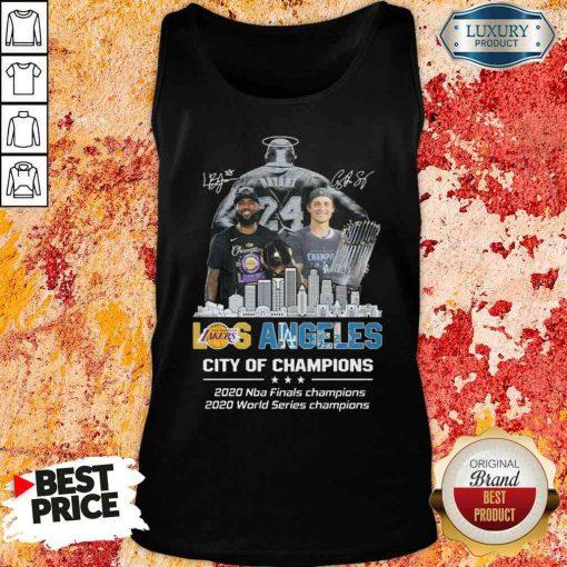 Kobe Bryant LeBron James Los Angeles Vs Corey Seager LA Dodgers City Of Champions 2020 Signature Tank Top-Design By Soyatees.com