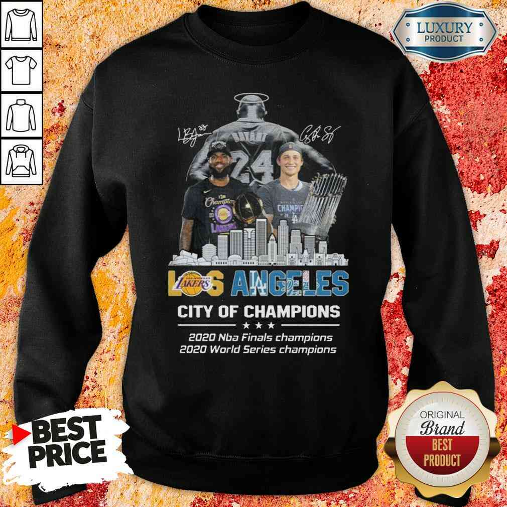 Kobe Bryant LeBron James Los Angeles Vs Corey Seager LA Dodgers City Of Champions 2020 Signature  Sweatshirt-Design By Soyatees.com