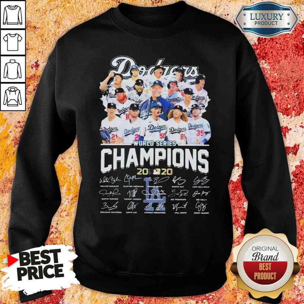 Los Angeles Dodgers world series Champions MLB 2020 signatures  Sweatshirt-Design By Soyatees.com