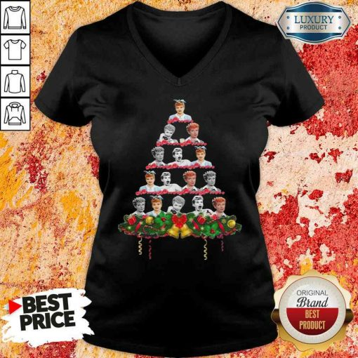 Lucille Ball Christmas Tree Sweater V-neck-Design By Soyatees.com