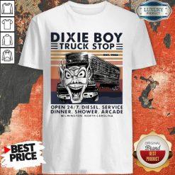 Vintage Dixie Boy Truck Stop Open 247 Diesel Service Dinner Shower Arcade Wilmington North Carolina Shirt