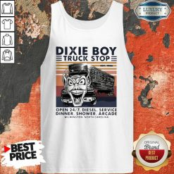 Vintage Dixie Boy Truck Stop Open 247 Diesel Service Dinner Shower Arcade Wilmington North Carolina V-neck-Design By Soyatees.com