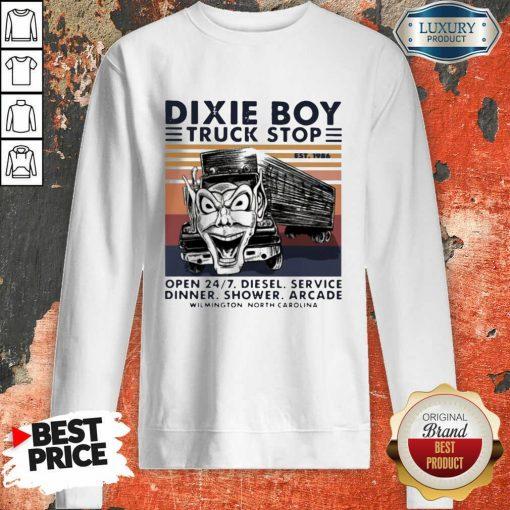Vintage Dixie Boy Truck Stop Open 247 Diesel Service Dinner Shower Arcade Wilmington North Carolina Sweatshirt-Design By Soyatees.com