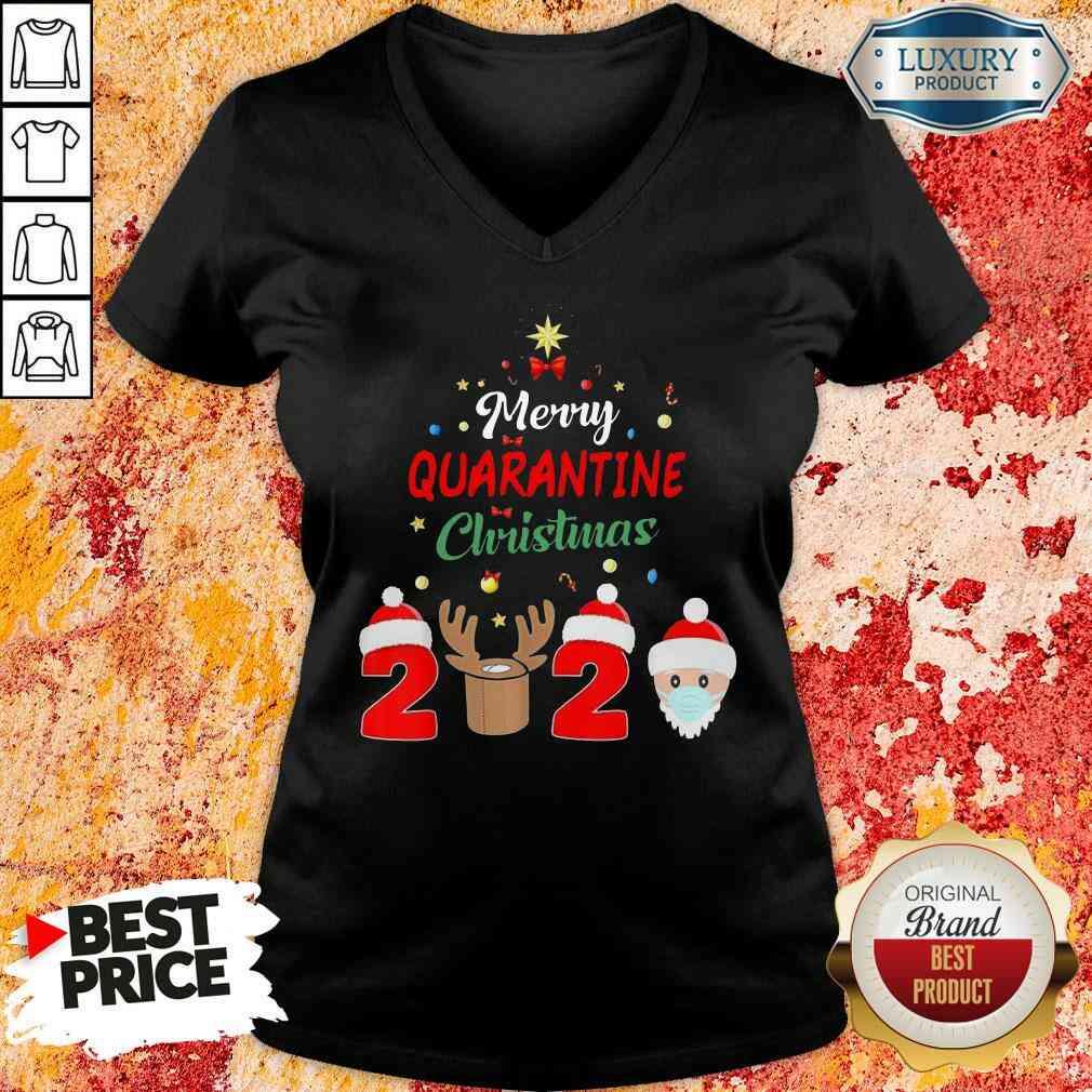 Official Merry Quarantine Christmas V-neck-Design By Soyatees.com