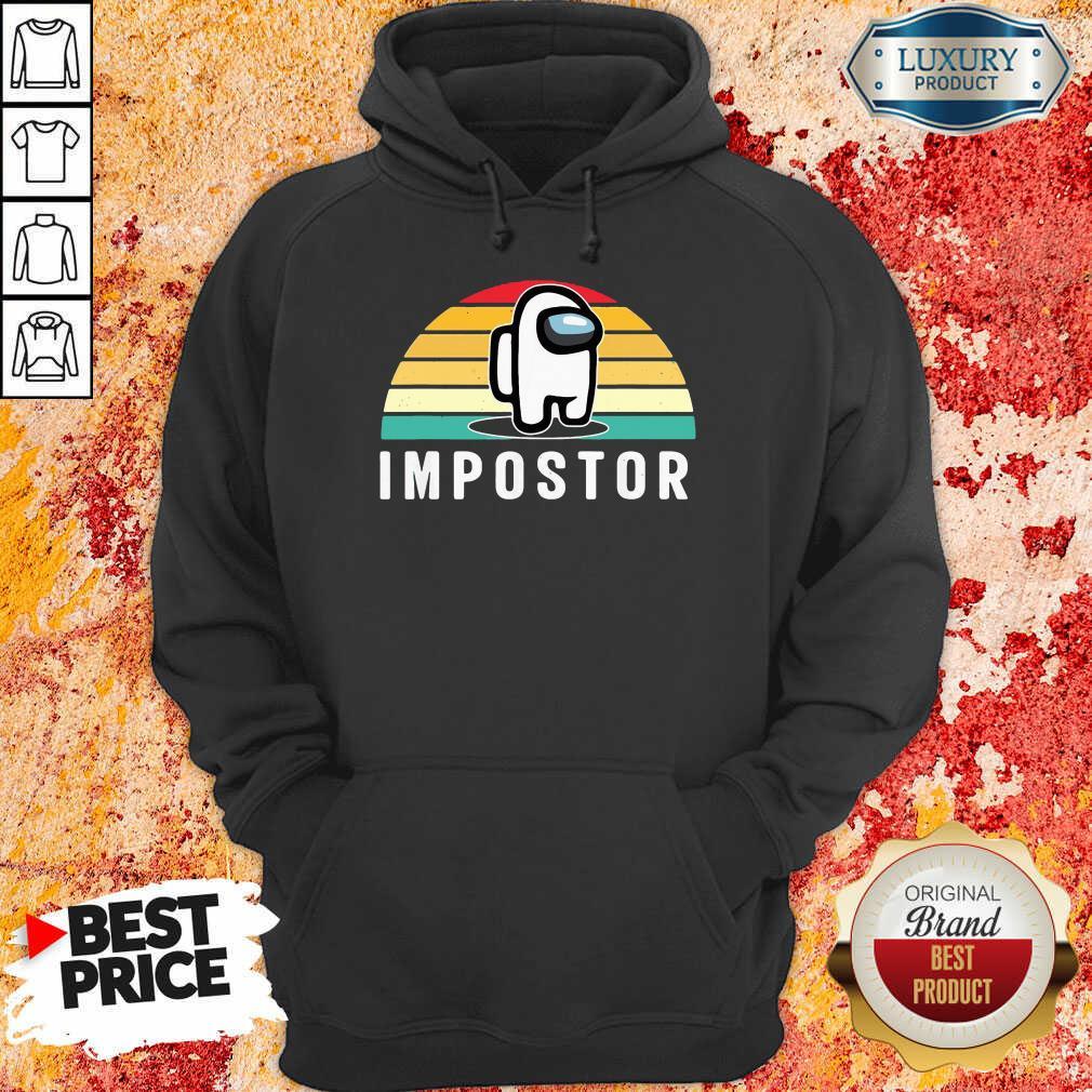 Vintage Sunset Gaming Meme Impostor Among Game Us Sus Gift Hoodie-Design By Soyatees.com