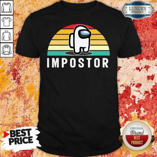 Vintage Sunset Gaming Meme Impostor Among Game Us Sus Gift ShirtDesign By Soyatees.com