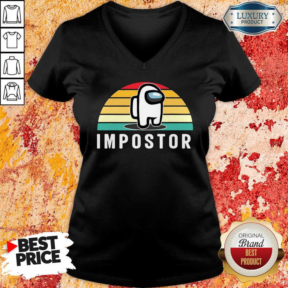 Vintage Sunset Gaming Meme Impostor Among Game Us Sus Gift V-neck-Design By Soyatees.com