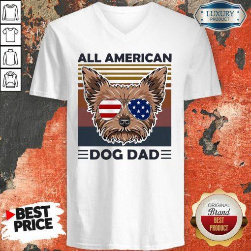 Yorkie All American Dog Dad Vintage V-neck-Design By Soyatees.com