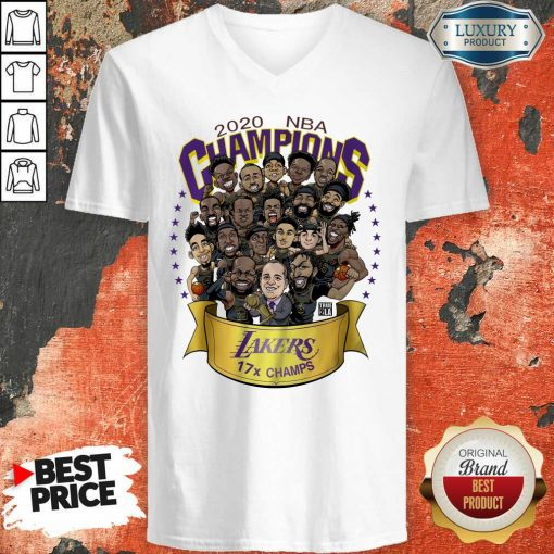 Nwt 2020 Nba Champions Lakers Cartoon V-neck-Design By Soyatees.com