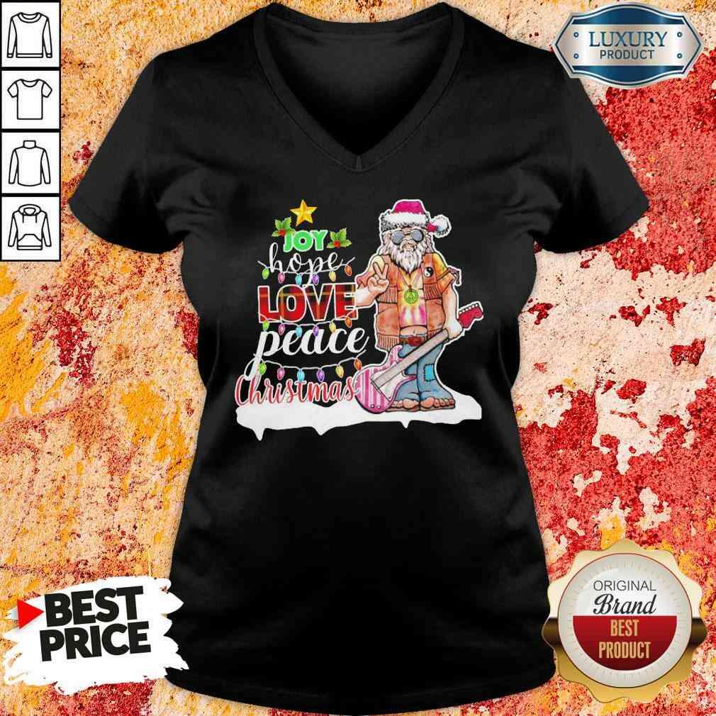 Original Santa Joy Hope Love Peace Christmas V-neck-Design By Soyatees.com