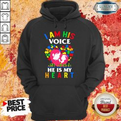 Perfect Autism I Am His Voice He Is My Heart Hoodie-Design By Soyatees.com