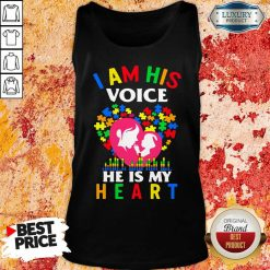 Perfect Autism I Am His Voice He Is My Heart Tank Top-Design By Soyatees.com