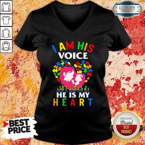 Perfect Autism I Am His Voice He Is My Heart V-neck-Design By Soyatees.com