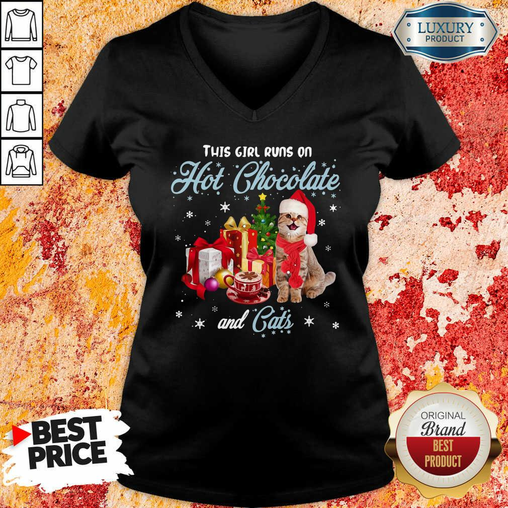 This Girl Runs On Hot Chocolate And Cats Christmas V-neck-Design By Soyatees.com