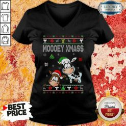 Premium Cows Moooey Xmass Ugly Christmas V-neck-Design By Soyatees.com